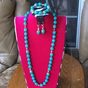 Turquoise Wooden  beads necklace and earrings
